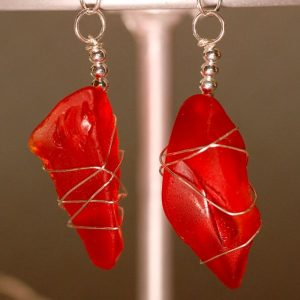 Rare Red Sea Glass Earrings