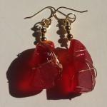 Rare Red Sea Glass Earrings