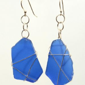 Blue Sea Glass Earrings 0388