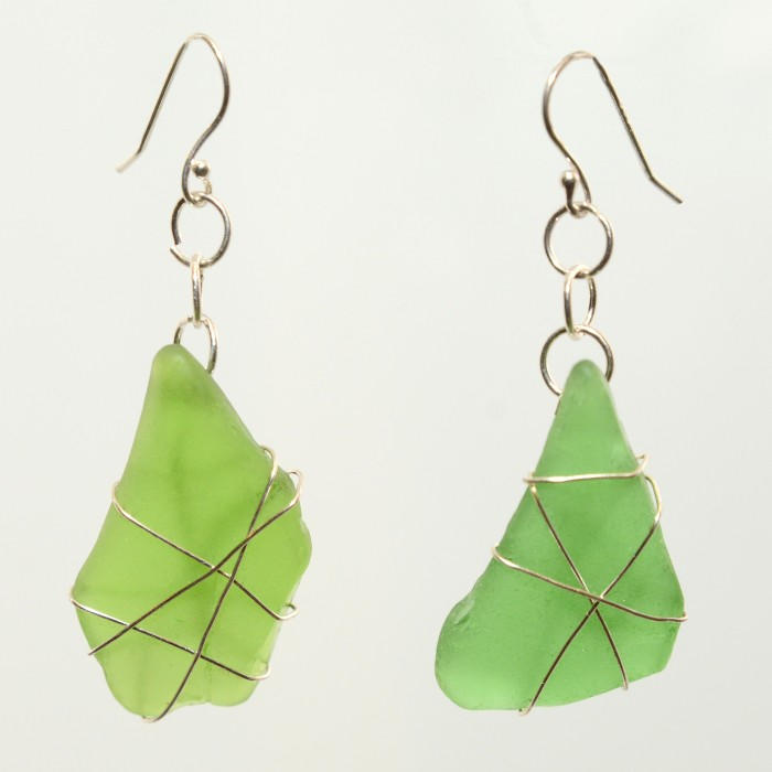 Green Sea Glass Earrings 0389