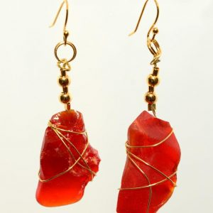 Red Sea Glass Earrings 0393