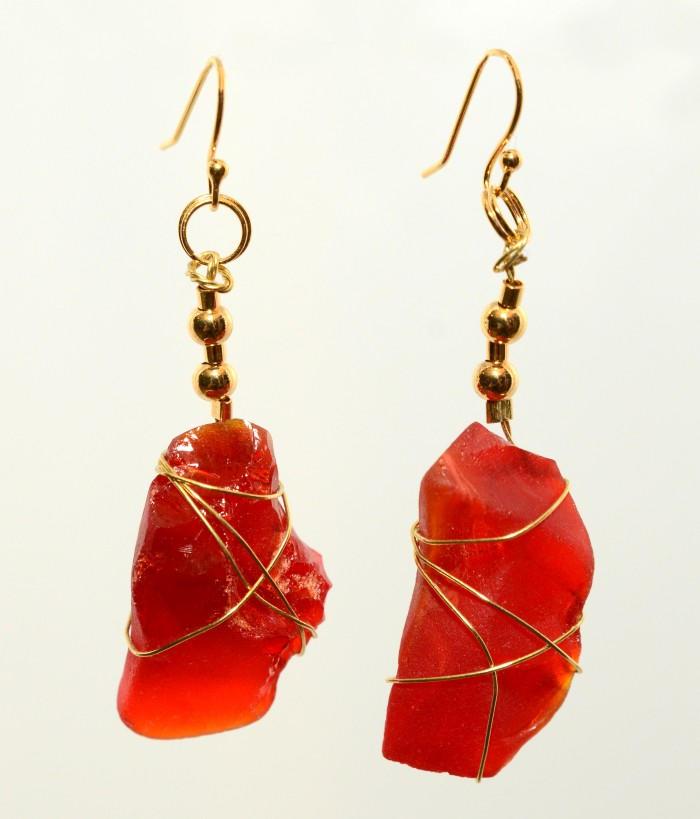 Red Sea Glass Earrings 0393