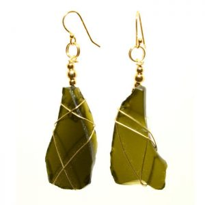 Rare Dark Green Sea Glass Earrings 0396