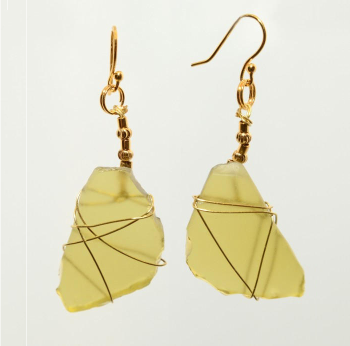 Rare Yellow Sea Glass Earrings 0399