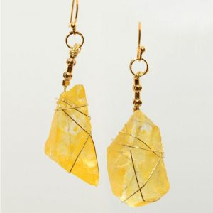Yellow Frosted Glass Earrings 0410