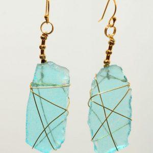 Turqouise Sea Glass Earrings 0413