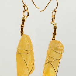 Yellow Frosted Glass Earrings 0416