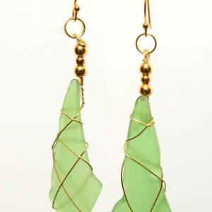 Green Sea Glass Earrings 0418