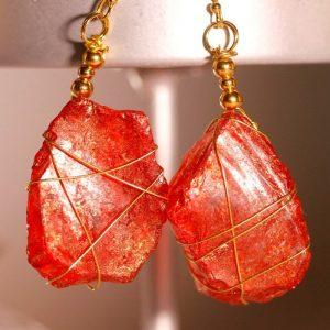 Red Sea Glass Earrings 1038