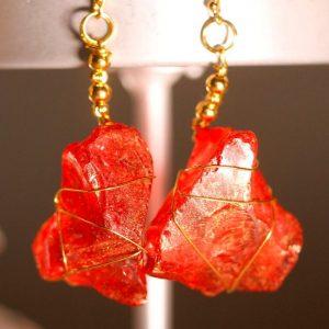 Red Sea Glass Earrings 1041