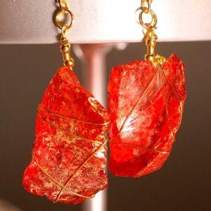 Red Sea Glass Earrings 1043