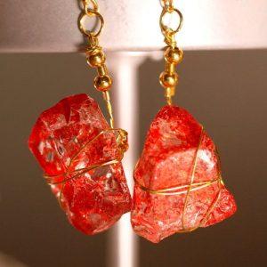 Red Sea Glass Earrings 1045