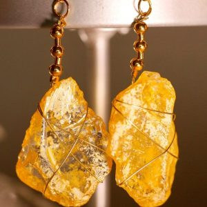 Yellow Sea Glass Earrings 1047