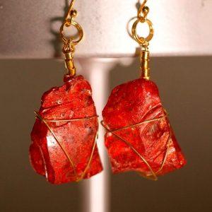 Red Sea Glass Earrings 1048