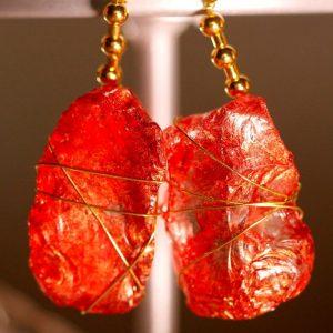 Red Sea Glass Earrings 1050