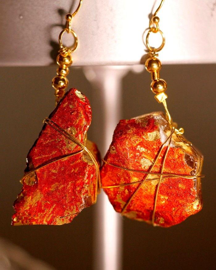 Red Sea Glass Earrings 1051