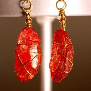 Red Sea Glass Earrings 1053