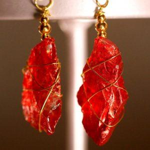 Red Sea Glass Earrings 1054