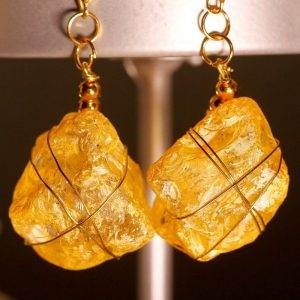 Yellow Sea Glass Earrings 1058