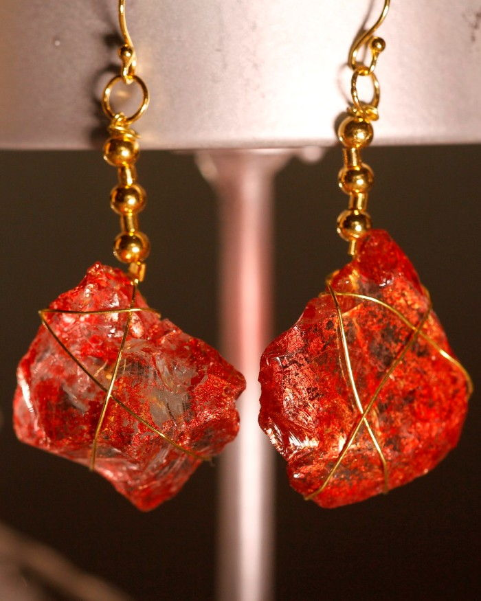 Red Sea Glass Earrings 1059