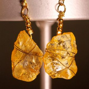 Yellow Sea Glass Earrings 1060