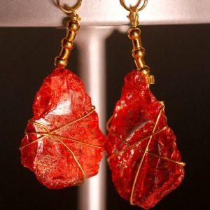 Red Sea Glass Earrings 1061