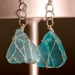 Aqua Sea Glass Earrings 1069
