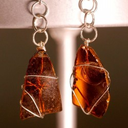 Amber Sea Glass Earrings 1070