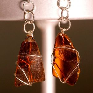 Amber Sea Glass Earrings 1070