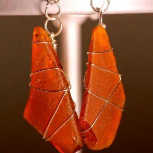 Orange Peach Sea Glass Earrings 1071