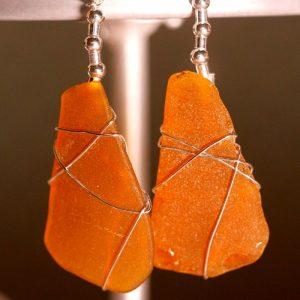 Orange Peach Sea Glass Earrings 1075