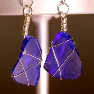 Blue Sea Glass Earrings 1078