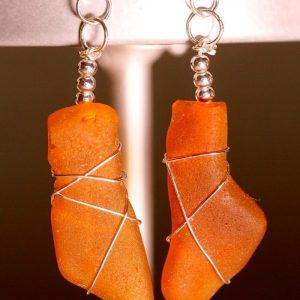 Honey Amber Sea Glass Earrings 1084
