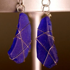 Blue Sea Glass Earrings 1090