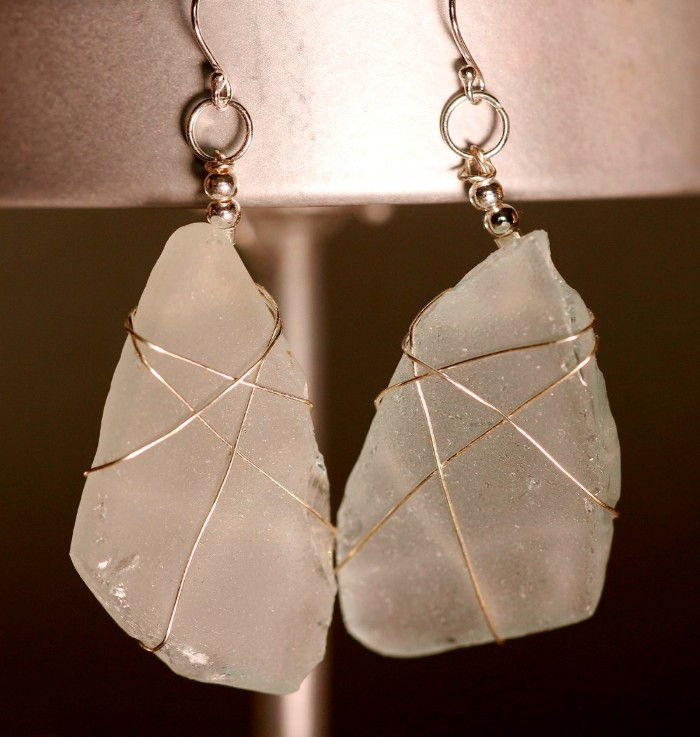 White Sea Glass Earrings 1092