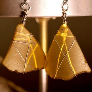 Yellow Sea Glass Earrings 1093