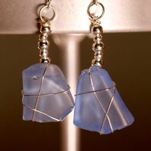 Light Blue Sea Glass Earrings 1098