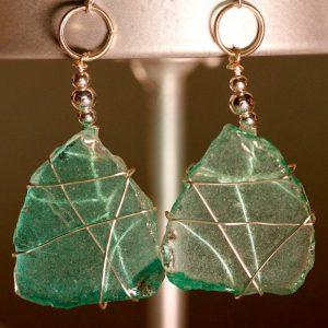 Aqua Sea Glass Earrings 1009