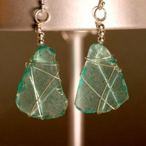 Aqua Sea Glass Earrings 1101