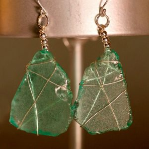 Aqua Sea Glass Earrings 1102
