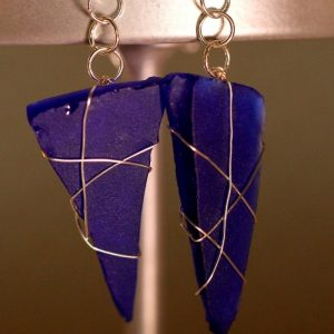 Blue Sea Glass Earrings 1104