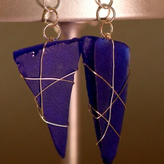 Blue Sea Glass Earrings 1104