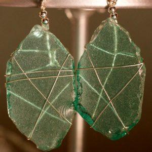 Aqua Sea Glass Earrings 1105