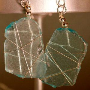 Aqua Sea Glass Earrings 1108