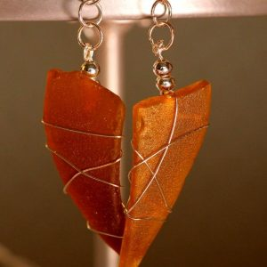 Amber Sea Glass Earrings 1109