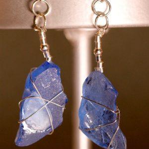 Light Blue Sea Glass Earrings 1111