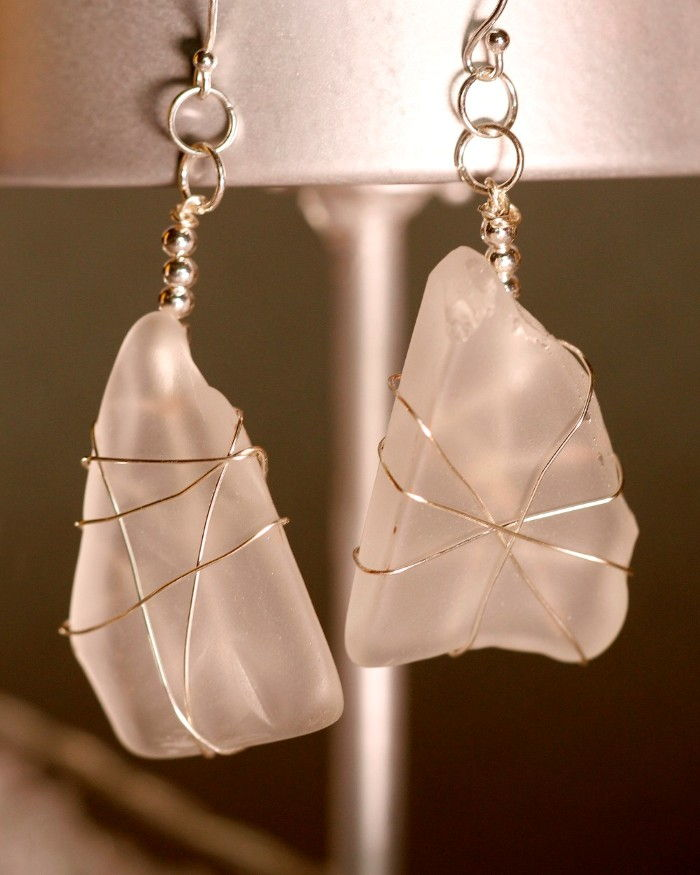 White Sea Glass Earrings 1115