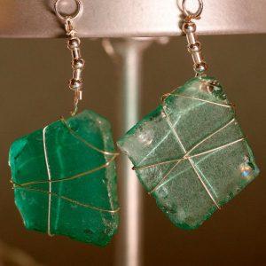Aqua Sea Glass Earrings 1116