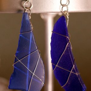 Blue Sea Glass Earrings 1119