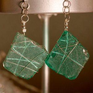 Aqua Sea Glass Earrings 1121